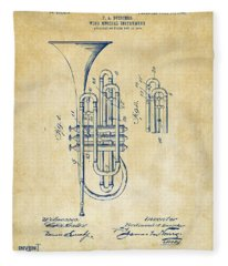 1906 Brass Wind Instrument Patent Artwork Vintage Fleece Blanket