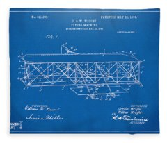 1906 Wright Brothers Flying Machine Patent Blueprint Fleece Blanket