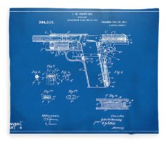 1911 Colt 45 Browning Firearm Patent 2 Artwork Blueprint Fleece Blanket