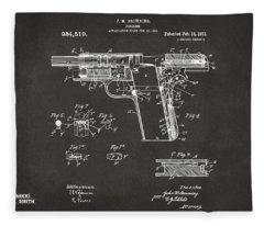 1911 Colt 45 Browning Firearm Patent 2 Artwork - Gray Fleece Blanket