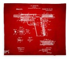 1911 Colt 45 Browning Firearm Patent 2 Artwork Red Fleece Blanket