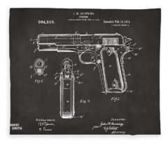 1911 Browning Firearm Patent Artwork - Gray Fleece Blanket