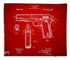 1911 Colt 45 Browning Firearm Patent Artwork Red Fleece Blanket