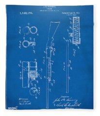 1915 Ithaca Shotgun Patent Blueprint Fleece Blanket