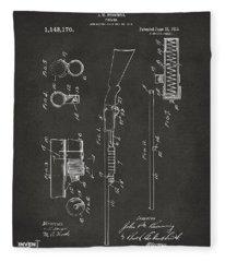 1915 Ithaca Shotgun Patent Gray Fleece Blanket