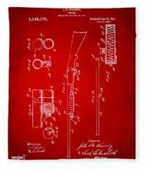 1915 Ithaca Shotgun Patent Red Fleece Blanket