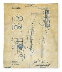 1915 Ithaca Shotgun Patent Vintage Fleece Blanket