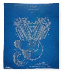 1923 Harley Davidson Engine Patent Artwork - Blueprint Fleece Blanket