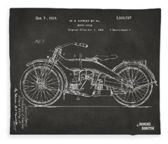 1924 Harley Motorcycle Patent Artwork - Gray Fleece Blanket