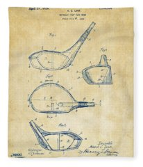 1926 Golf Club Patent Artwork - Vintage Fleece Blanket
