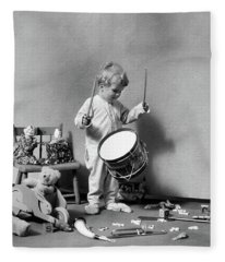 1930s Boy In Pajamas Beating On Toy Fleece Blanket