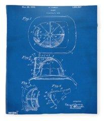 1932 Fireman Helmet Artwork Blueprint Fleece Blanket