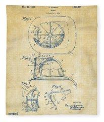 1932 Fireman Helmet Artwork Vintage Fleece Blanket