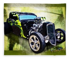 1934 Ford Three Window Coupe Hot Rod Fleece Blanket