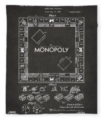 1935 Monopoly Game Board Patent Artwork - Gray Fleece Blanket