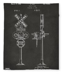 1936 Rail Road Crossing Sign Patent Artwork - Gray Fleece Blanket
