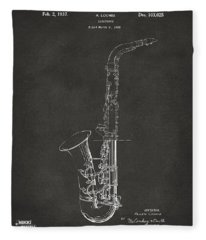 1937 Saxophone Patent Artwork - Gray Fleece Blanket