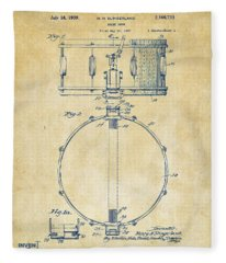 1939 Snare Drum Patent Vintage Fleece Blanket