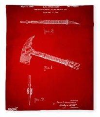 1940 Firemans Axe Artwork Red Fleece Blanket