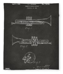 1940 Trumpet Patent Artwork - Gray Fleece Blanket