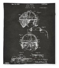 1940 Welders Goggles Patent Artwork - Gray Fleece Blanket