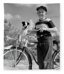 1940s 1950s Boy On Bike With Puppy Fleece Blanket