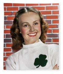 1940s 1950s Portrait Smiling Woman Fleece Blanket