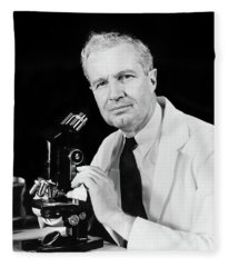 1940s Man Scientist Using Microscope Fleece Blanket