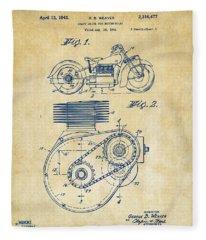 1941 Indian Motorcycle Patent Artwork - Vintage Fleece Blanket