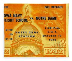 1942 Football Ticket Notre Dame Vs Iowa Navy Pre-flight Fleece Blanket