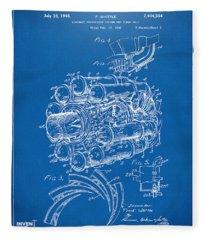 1946 Jet Aircraft Propulsion Patent Artwork - Blueprint Fleece Blanket