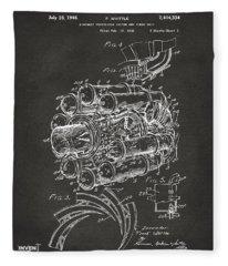1946 Jet Aircraft Propulsion Patent Artwork - Gray Fleece Blanket