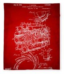 1946 Jet Aircraft Propulsion Patent Artwork - Red Fleece Blanket