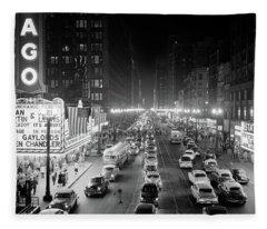 1950s 1953 Night Scene Of Chicago State Fleece Blanket