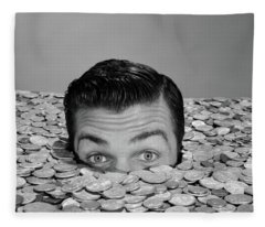 1950s 1960s Funny Man Buried Up To Eyes Fleece Blanket
