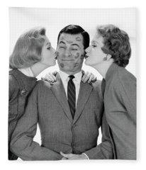 1950s 1960s Single Man Being Kissed Fleece Blanket