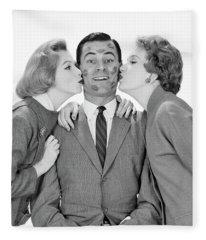 1950s 1960s Smiling Single Man Looking Fleece Blanket