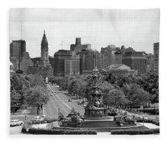 1950s Benjamin Franklin Parkway Looking Fleece Blanket