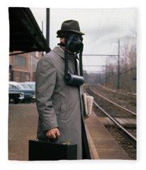 1950s Man Wearing Gas Mask Hat Fleece Blanket