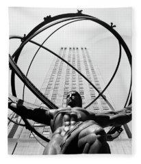 1950s Statue Of Atlas At Rockefeller Fleece Blanket