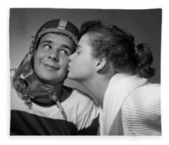 1950s Teen Girl With Pony Tail Kissing Fleece Blanket