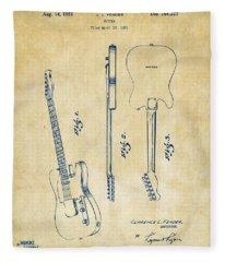 1951 Fender Electric Guitar Patent Artwork - Vintage Fleece Blanket