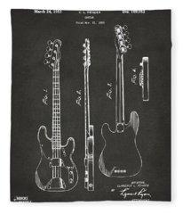 1953 Fender Bass Guitar Patent Artwork - Gray Fleece Blanket