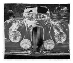 1954 Jaguar Xk 120 Se Ots Bw Fleece Blanket