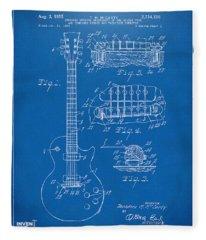1955 Mccarty Gibson Les Paul Guitar Patent Artwork Blueprint Fleece Blanket
