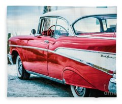 Fleece Blanket featuring the photograph 1957 Chevy Bel Air by Edward Fielding