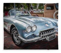 1958 Chevy Corvette Painted Fleece Blanket