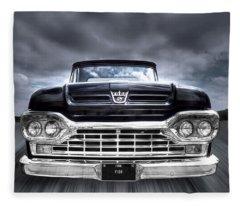 1960 Ford F100 Pick Up Head On Fleece Blanket