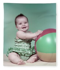 1960s Baby Beach Ball Bathing Suit Fleece Blanket