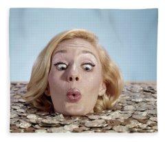 1960s Blond Woman Funny Facial Fleece Blanket